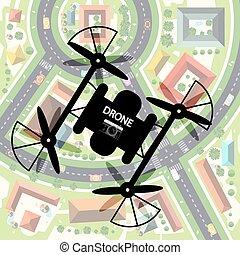 鎮, 城市, 遙遠, 照像機, 頂部, below., 雄峰, 錄音, mechanism., device., 影像...