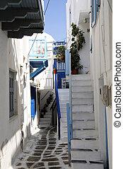 鎮, 島, 透過, 希臘, 小, mykonos, 路
