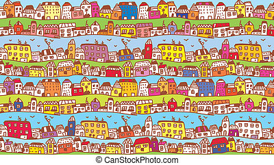 鎮, 有趣, 孩子, 背景, 房子