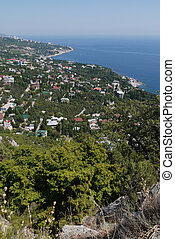 鎮, 美麗, 沿海, grass-covered, 岩石, 背景, 小