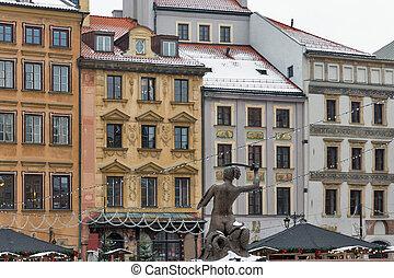鎮, 華沙, 廣場, 老, 波蘭, 聖誕節, 市場