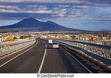 鎮, vesuvius, 場景, 一, 汽車高速公路, 羅馬, 火山, 通過, naple