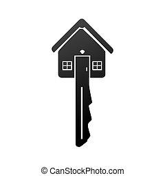 鏈子, 房子, 形狀, 鑰匙, 單色, 圖象