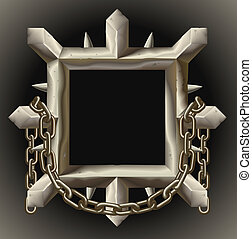 鏈子, 框架, 尖刻, 金屬, 生鏽, 邊框