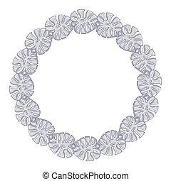 鏈子, 框架, -, 輪, 背景。, 白色, 銀