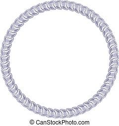 鏈子, 框架, -, 銀, 背景。, 白色, 輪