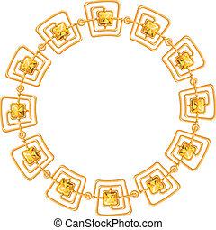 鏈子, 金, 框架, -, 矢量, 背景, 白色, 輪