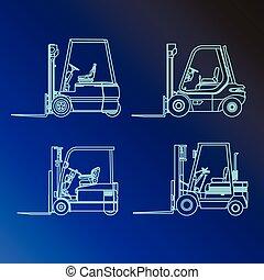 鏟車, 汽車, 線