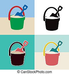 鏟, 集合, 桶, 玩具