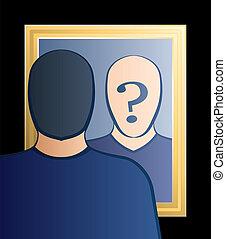 鏡, だれか, 午前, i, 人