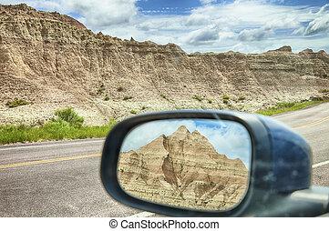 鏡, 光景, の, バッドランド, 山