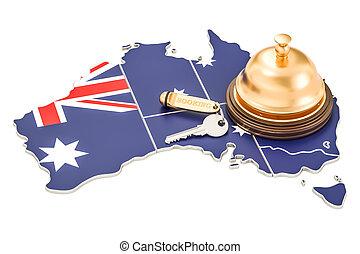鐘, オーストラリア, キー, concept., ホテル, レンダリング, 旗, レセプション, オーストラリア人, 予約, 3d