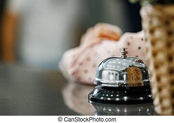 鐘, カウンター, ホテル, フロント, サービス