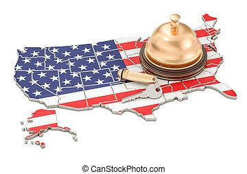 鐘, キー, アメリカ, concept., ホテル, 私達, レンダリング, 旗, レセプション, 予約, 3d