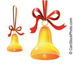鐘, クリスマス, リボン, 赤