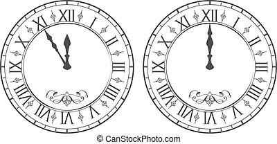 鐘, 午夜, 羅馬, 年, 新, numerals.