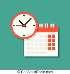 鐘, 日曆, icon.