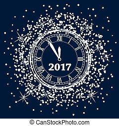 鐘, 矢量, 設計, 背景, 年, 新,  2017