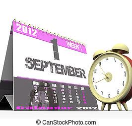 鐘, 警報, 被隔离, 背景, 白色, 日曆,  3D