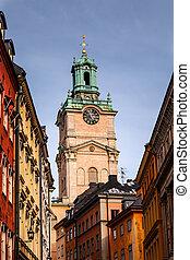 鐘, (storkyrkan), ストックホルム, スウェーデン, 聖者, タワー, 大聖堂, ニコラス