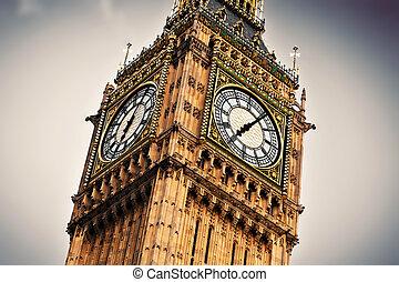 鐘, uk., 時計, ベン, ロンドン, 終わり, イギリス\, 大きい, 。