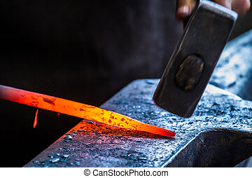 鐵匠, 正在工作, 在, anvil