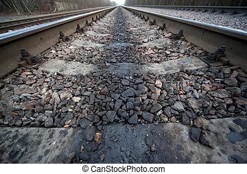 鐵路, 離開, 在, 距離, 在中間, 木頭, 以及, 解決