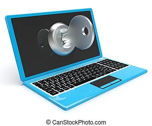 鑰匙, 上, 電腦, 顯示, 保護, 密碼, 或者, 開啟