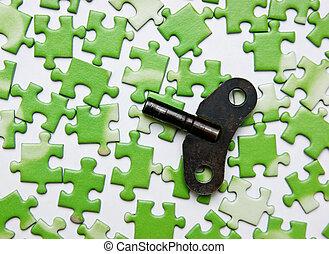 鑰匙, 上, the, 綠色, 難題