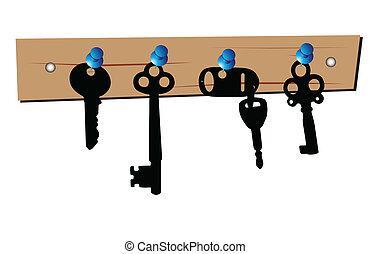 鑰匙, 在适當的位置, 矢量, 插圖