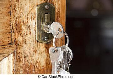 鑰匙, 在, the, 前門, ......的, the, 房子