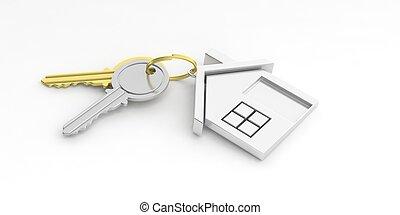 鑰匙, 房子, 插圖, 背景。, 白色, 3d