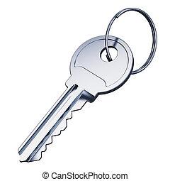鑰匙, 白色, 金屬, 被隔离, 背景