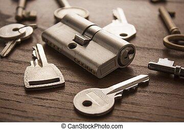 鑰匙, 鎖, 門