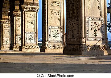 鑲嵌, 大理石, 專欄, 以及, 拱, 大廳, ......的, 私人, 觀眾, 或者, diwan, 我, khas, 在, the, lal, qila, 或者, 紅的堡壘, 在, 德里, 印度