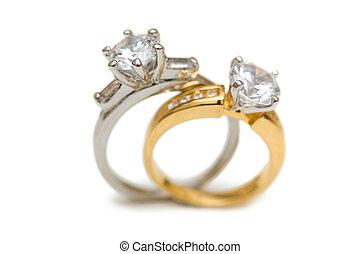 鑽石, 戒指, 被隔离, 二, 婚禮, 白色