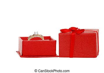 鑽石, 箱子, 紅色, 珠寶, 戒指