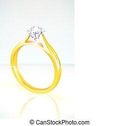 鑽石, 金, 光輝, 約會, 黃色, 戒指