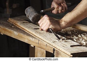 鑿子, 錘子, 木匠, 工作, 手