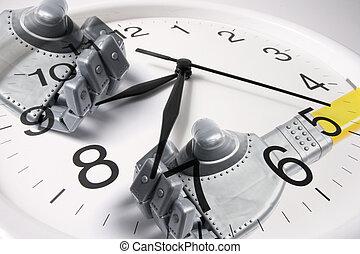 钟, 同时,, 机器人, 手