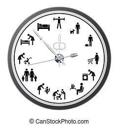 钟, 在中, 图标, 在中, 人们。