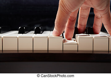 钢琴, 角度, 玩, 低