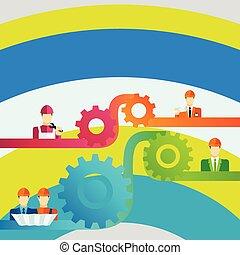 钢盔, 不同, 人, 齿轮, 色彩丰富, 图标, widget, character., 想法, 描述, 创造性, 配合, 统一, 放置, 连接, cooperation., 背景, cog, 专业人员