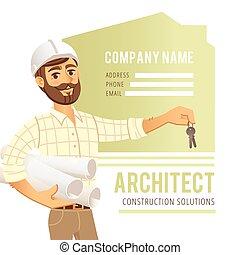 钢盔, 房子, 建筑师, 对, 商业, card., cottage., 建设, 性格, 背景, engineer., ...