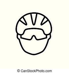 钢盔, 自行车, 矢量, 黑色, 描述, icon-