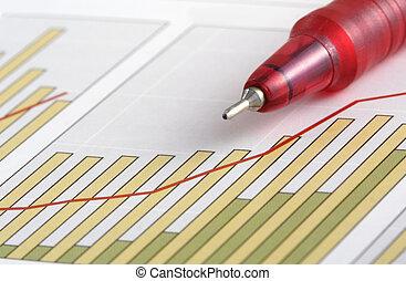 钢笔, 在上, 积极, 赚得, 图表