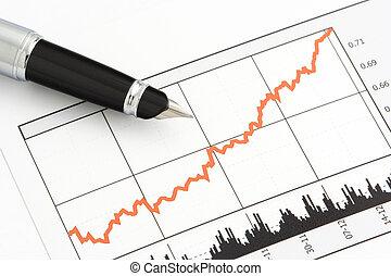 钢笔, 在上, 股票价格, 图表