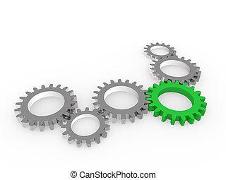 钢铁, 绿色, chrom, 齿轮, 3d