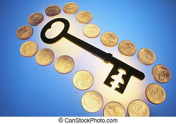 钥匙, 硬币, 骨骼, 金子