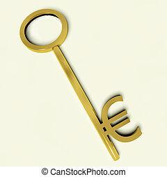 钱符号, 投资, 钥匙, 签署, 或者, 欧元